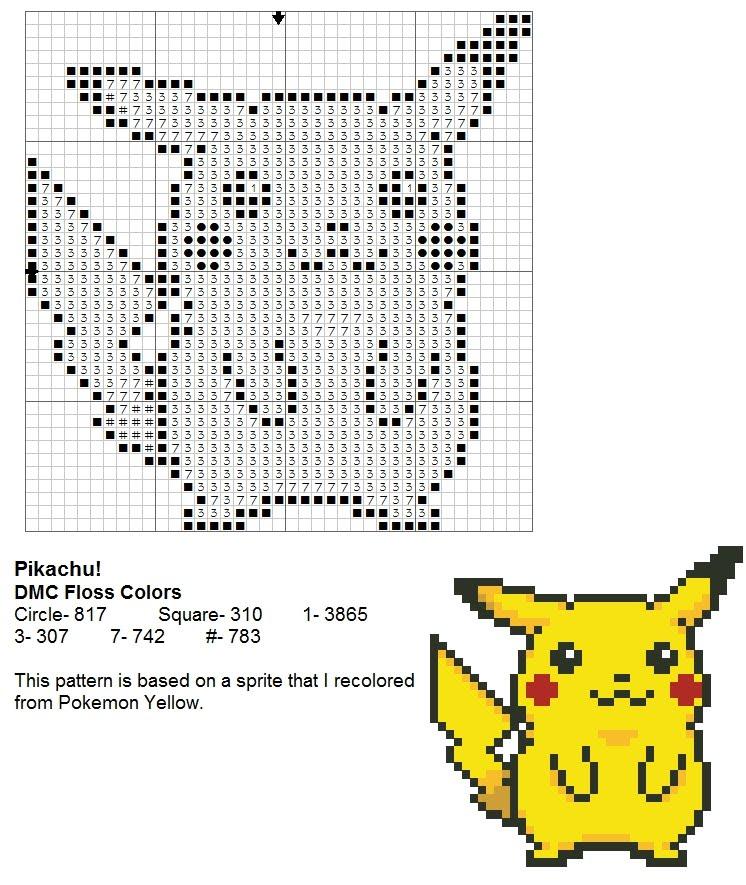 Tejer Punto Cruz Pikachu 02 – Amigurumi Duende de los Hilos