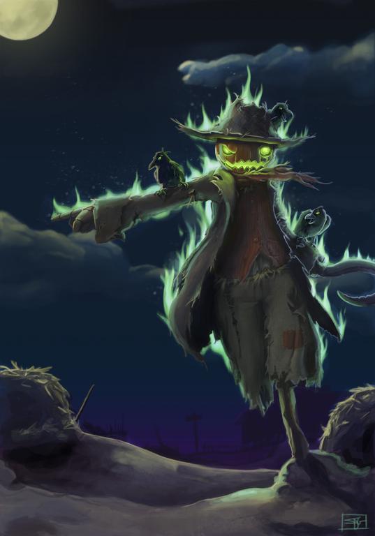 ilustracion espantapajaros halloween