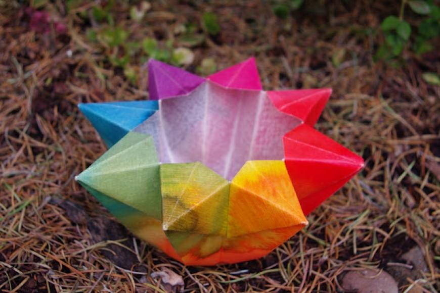 Portavelas de Origami